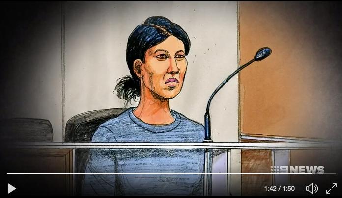 知花茜さんを描いた法廷でのスケッチ