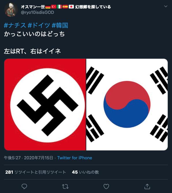 ナチスの旗と韓国の旗